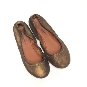LUCKY BRAND Bronze Metallic Leather Flats Size 9.5